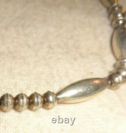 Old Pawn Navajo Sterling Hand Made Fancy Bench Bead Necklace Native 18