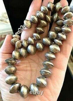 Old Pawn Sterling Silver Navajo Pearls Hand Made Stamped 71.5 Gr. Necklace