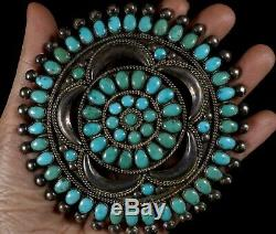 Old Pawn Vintage Petit Point NAVAJO Made TURQUOISE Sterling 3 5/8 Pin Brooch