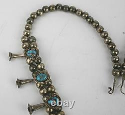 Old petit Navajo sterling squash blossom necklace & Turquoise hand made beads