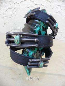 Older Navajo Concho Sandcast Sterling Silver & Turquoise Hand Made Belt