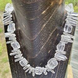 One of a Kind, Stunning Artisan Designed & Made Rock Quartz Crystal Bib Necklace