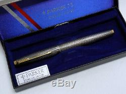 Original Parker 75 Sterling Silver Fountain Pen Made in USA 14kt Gold Point