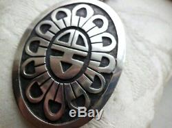 Outstanding Hopi Overlay Big Sunface Hand Made Large Pendant/pin Sterling Silver