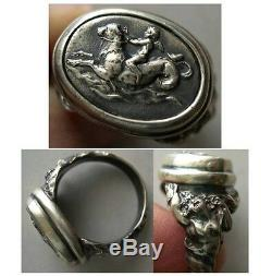 PCW-SR005-Cupid, riding Sea Serpent A custom-made Sterling Silver Ring