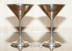 Pair Of Fully Hallmarked Sterling Silver Sheffield Made 1996 Martini Glasses