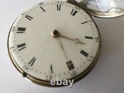 Pair case fusee verge silver pocket watch made in 1811