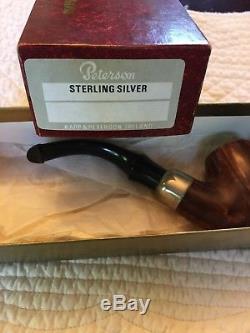 Peterson Tobacco pipe, bent billiard, Made in Ireland, Sterling silver, Briar