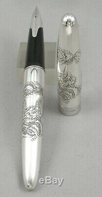 Pilot Sterling Silver Dragon Fountain Pen 2010 Made In Japan 18kt Flex Nib