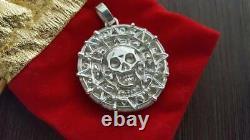 Pirates Caribbean AZTEC SKULL COIN made Sterling Silver 925- handicraft