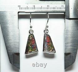 Queensland Boulder Opal Hand Made Silver Earrings