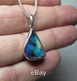 Queensland Boulder Opal Pendant Hand Made Silver Natural Australian Stone