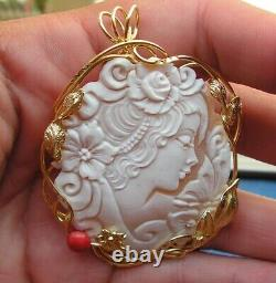 RARE Antique Vintage Style Art Deco Carved Shell Cameo Flower Made in ITALY