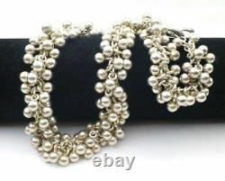 RLM 925 Sterling Silver 126G Beaded Charms Toggle Necklace 16.5 Made In Italy
