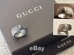 RRP$315 RARE AUTH GUCCI FELINE HEAD 925 STERLING SILVER RING Sz. 22 MADE IN ITALY