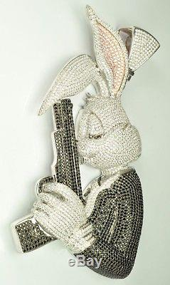 Rabbit man wit GunHand made 925 Sterling Silver Cubic Zirconia Pendent Free Ship