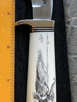 Randall Made Knife Ivory Scrimshaw Sterling Silver 5 Elephant Sheath