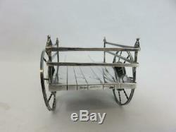 Rare CARTIER Sterling Silver FLOWER CART CENTERPIECE wagon HAND MADE 1960's