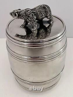 Rare Russian Made For Tiffany Sterling Barrel Form Jar With Figural Bear C. 1890