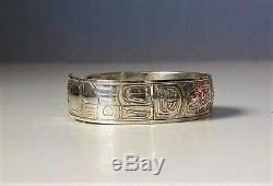 Raven + Sun Sterling Silver Cuff Bracelet Made by Tlingit Artist Doug Chilton