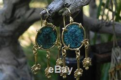 Roman Coin Earrings 22Kt Gold over Sterling Silver Etruscan Style Italian Made