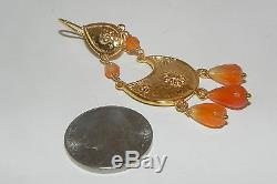 Roman Etruscan Carnelian Earrings 22Kt Gold over Sterling Silver Made in Italy