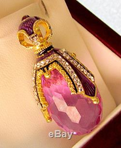 SALE! GORGEOUS RUSSIAN PENDANT MADE OF STERLING SILVER 925 AMETHYST With ENAMEL