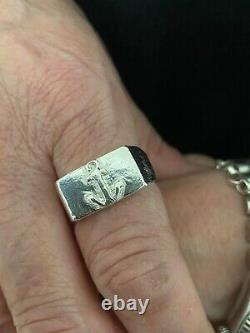 SOLID CHUNKY ANCHOR SIGNET RING UK Sterling Silver HAND MADE Hallmarked size L-V