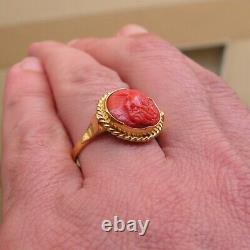 STERLING SILVER CORAL Handmade Cameo STONE RING SIZE 8 925 FINE MADE IN ITALY