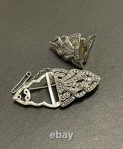 STERLING SILVER marcasite CLIPS/BROOCH combine-Made in GERMANY-ANTIQUE