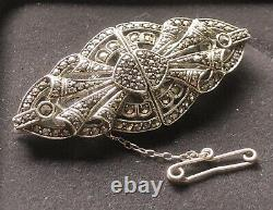 STERLING SILVER marcasite CLIPS & BROOCH combine-Made in GERMANY-ANTIQUE-stamp