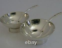 STYLISH HAND MADE SOLID STERLING SILVER MODERN SALT CELLARS AND SPOONS c1980