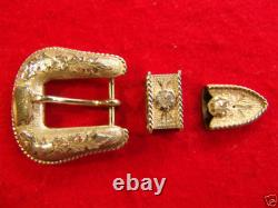 SUNSET TRAILS 3pc Sterling Silver Texas Ranger Western Buckle Set, Made in USA