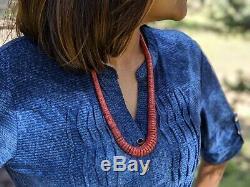 Santo Domingo Necklace Coral Heishi Bead Hand Made Kewa Native American Jewelry