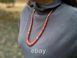 Santo Domingo Pueblo Heishi Kewa Necklace Natural Coral Jewelry Hand Made
