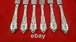 Set of 6 Rose Point by Wallace Sterling Silver Serrated Steak Knives Custom Made