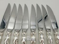 Set of 8 Strasbourg by Gorham Sterling Silver Steak Knives Custom Made 9