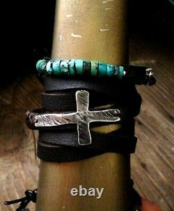 Sideways Sterling Cross Concho Wrap Bracelet Hand Made Soft Brown Leather $245