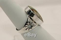 Signed Native American Navajo Made Sterling Silver Boulder Turquoise Ring