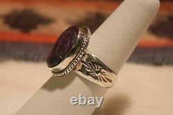 Signed Native American Navajo Made Sterling Silver Charoite Ring