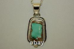 Signed Navajo Indian Made Sterling Silver Boulder Turquoise Necklace / Pendant