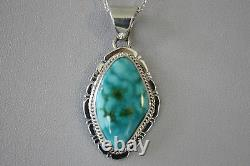 Signed Navajo Made Sterling Silver Turquoise Mountain Turquoise Pendant