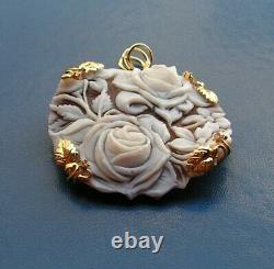 Silver Gold Jewelry Shell Cameo Heart & Flower Cameo Pendant Made in Italy 46Cm