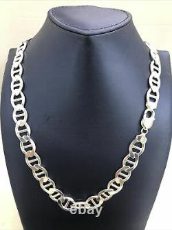Solid 925 Sterling Silver 10MM Mariner Chain Necklace Made in Italy