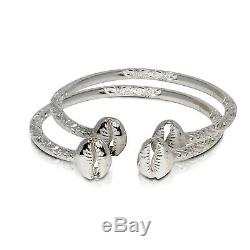 Solid. 925 Sterling Silver Cowrie Shell Bangles (Pair) (Made in USA)