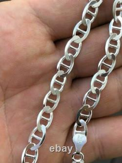 Solid 925 Sterling Silver Men's 6mm Mariner's Link Chain Made In ITALY 18-30