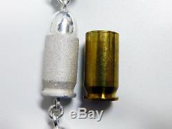 Solid Silver Custom Made Men's Necklace Pistol Rounds 45 Cal. Heavy 642gr 32