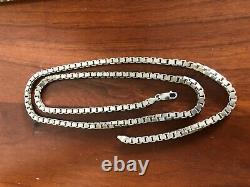Solid Sterling Silver Heavy Box Necklace Chain 30 Long Made In Italy