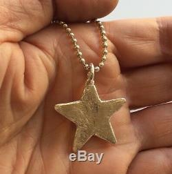 Solid star pendant HAND BEATEN STERLING SILVER NECKLACE London Made Hallmarked