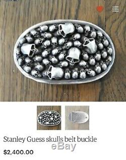 Stanley Guess Sterling Silver Skull Motif Belt Buckle(Very Rare)Made In USA